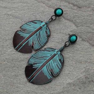 Jewelry - Handmade Turquoise Western Leaf Post Earrings
